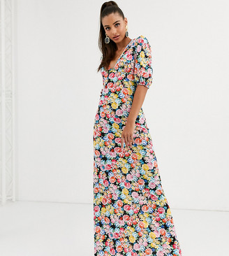Asos Tall DESIGN Tall maxi tea dress with strappy back in floral print-Multi