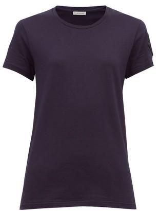 Moncler Velvet Logo-appliqued Cotton T-shirt - Navy