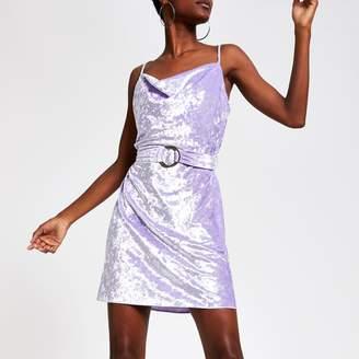 River Island Womens Light Purple cowl neck belted slip dress