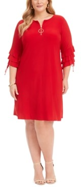 MSK Plus Size Ruffle-Sleeve Zip Dress