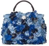 Fendi Mini Peekaboo Floral-Embellished Denim Satchel