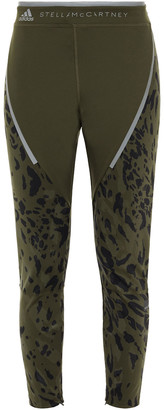 adidas by Stella McCartney Cropped Printed Stretch-jersey Leggings