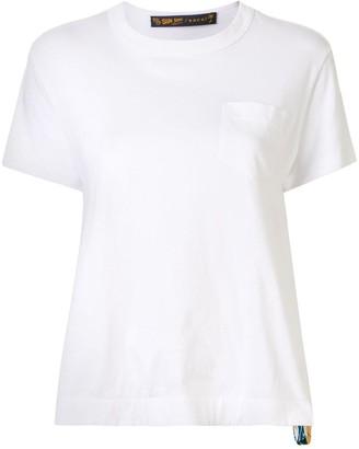 Sacai pleated tropical print detail T-shirt