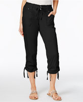 INC International Concepts Ruffled-Waist Cropped Cargo Pants, Only at Macy's