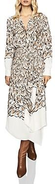 Reiss Mia Belted Feather Print Midi Dress
