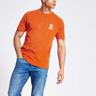 River Island Mens Franklin and Marshall Orange logo T-shirt