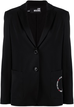 Love Moschino Logo Print Tailored Blazer