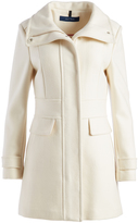 Cole Haan Ivory Wool-Blend Funnel Collar Coat