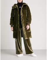 Mo&Co. Longline velvet-down puffer coat