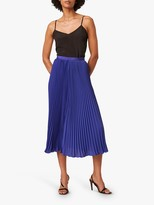 French Connection Crepe Pleated Skirt, Clement Blue