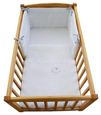 Clair De Lune Waffle Crib/Cradle Quilt and Bumper Set