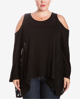 Eyeshadow Trendy Plus Size Sheer Cold-Shoulder Sweater