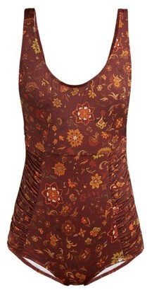 Dodo Bar Or Adinna Scoop-back Floral-print Swimsuit - Brown Print