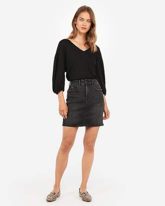 Express High Waisted Denim Perfect Black Ripped Mid-Thigh Skirt