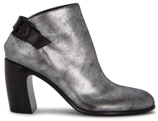 Ann Demeulemeester Metallic Gunmetal Leather Ankle Boots