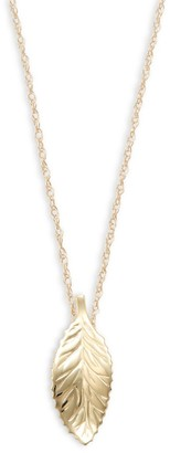 Saks Fifth Avenue 14K Yellow Gold Curve Leaf Pendant Necklace