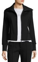 Moncler Stretch Jersey Zip-Front Cardigan, Black
