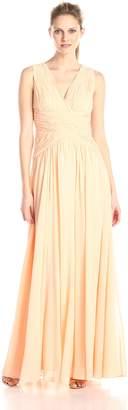 Donna Morgan Women's Sleeveless V Neck Cross Bodice Gown