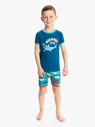 Hatley Boys' Shark Print Short Pyjamas, Blue