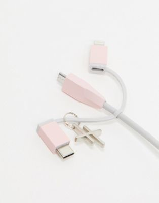 Thumbs Up Exclusive Hopscotch 3-in-1 charging cable in pink