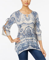 Style&Co. Style & Co. Printed Keyhole Top, Only at Macy's