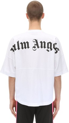 Palm Angels Logo Print Over Cotton Jersey T-shirt