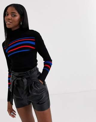 Pimkie stripe panel tight fit jumper in black