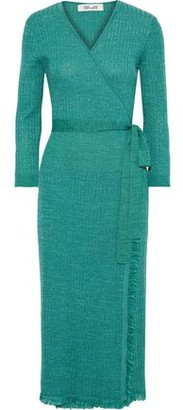 Diane von Furstenberg Bobbi Metallic Ribbed Wool-blend Midi Wrap Dress