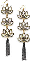 Thalia Sodi Two-Tone Jet Crystal Flower and Tassel Drop Earrings, Created for Macy's