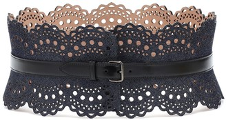 Alaã ̄A Denim and leather corset belt