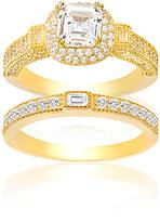 Bliss Cubic Zirconia & Gold Asscher-Cut Engagement Ring Set