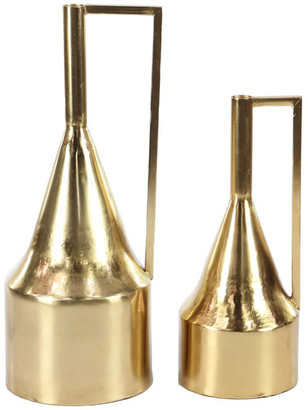 """Brimfield & May Modern Tapered Neck Iron Vases, 2-Piece Set, Gold, 21"""""""