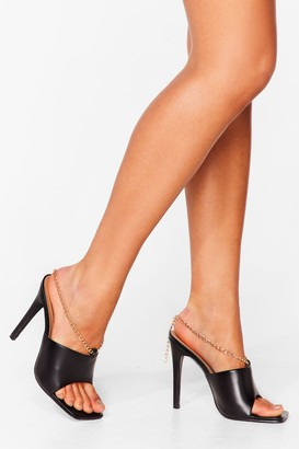 Nasty Gal Womens Chain-ge of Heart Faux Leather Stiletto Mules - Black - 3
