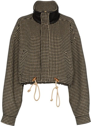 Nanushka Logan houndstooth cropped jacket