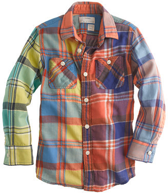 J.Crew Boys' cotton flannel shirt in colorblock plaid