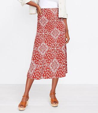 LOFT Bandana Pull On Midi Skirt