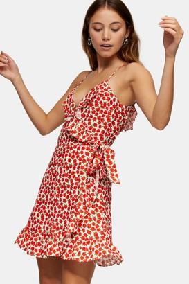Topshop Womens Red Rose Print Ruffle Mini Slip Dress - Red