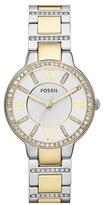 Fossil Women's 'Virginia' Crystal Bezel Bracelet Watch, 34Mm