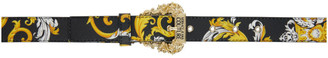 Versace Jeans Couture Black Saffiano Small Baroque Belt