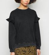 New Look Acid Wash Frill Sleeve Sweatshirt