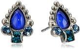 "Sorrelli Electric Blue"" Petite Semi-Precious Pear and Crystal Post Stud Earrings"
