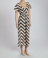 White Chevron Tie-Waist Dress
