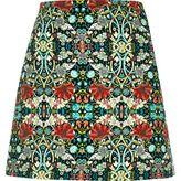 River Island Womens Green floral print pelmet skirt