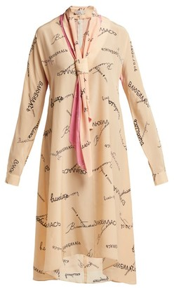 Natasha Zinko Tie-neck Silk-georgette Dress - Womens - Beige