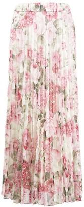 P.A.R.O.S.H. Floral Print Pleated Skirt