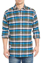 Psycho Bunny Men's Slim Fit Plaid Flannel Woven Shirt