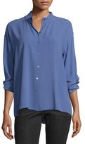 Eileen Fisher Long-Sleeve Button-Front Boxy Silk Blouse, Plus Size
