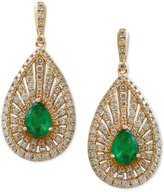 Effy Brasilica by Emerald (1-1/8 ct. t.w.) and Diamond (1-3/8 ct. t.w.) Drop Earrings in 14k Gold