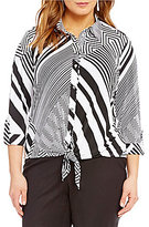 Peter Nygard Plus Printed Tie Front Blouse