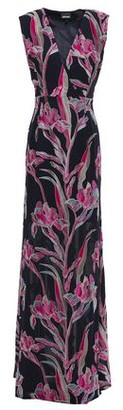 Just Cavalli Wrap-effect Embroidered Crepe Gown